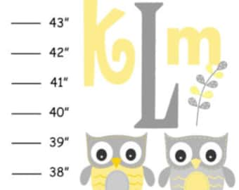 MEGA SALE Personalized Yellow Gray Owl v1 Canvas Growth Chart