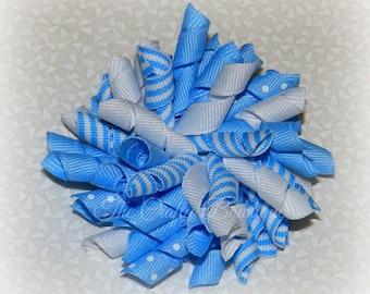 Blue & White Bow ~ Blue Polka Dot Bow ~ Blue Striped Bow ~ Blue Korker Bow ~  Blue Korker Pigtails ~ Blue Pigtail Bows ~ Blue Corkscrew