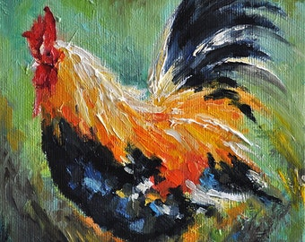 Original Oil Painting, Impressionist Rooster Painting Colorful Farm Animal 6x6 Inch