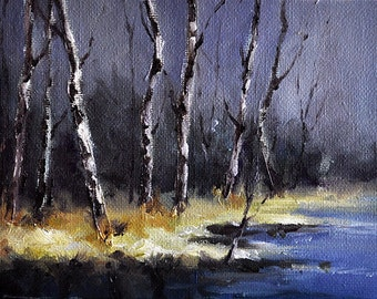 Original Oil Painting, Impressionist Night Landscape 5x7 Inch