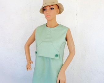 Vintage 1960s 60s OOAK Dress Mint Green Sleeveless Unique front Linen Dress S M 36 38
