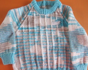 """Hand knitted children's sweater, chest size 20"""" - Ready to Ship"""
