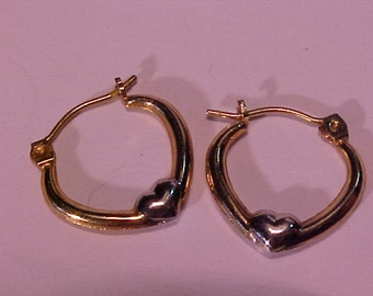 """10k yellow/white gold """"heart"""" style earrings. Ship to USA or Canada"""