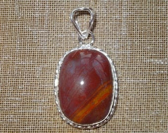 Mookaite Pendant with 925 Silver Plated over Copper