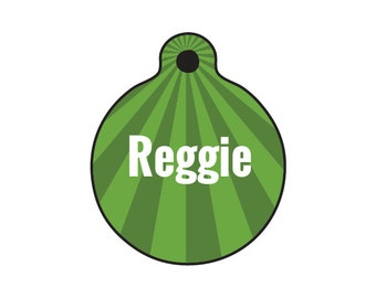 The Reggie - Dog or Cat Name Tag - 1in wide 2 sided aluminum full color ID tag