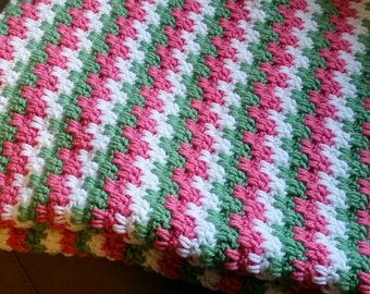 Crochet Baby Blanket. Pink, white and olive green- super soft!!