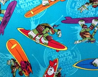SALE - One Half Yard Piece of Fabric - Surfin' Ninja Turtles TMNT