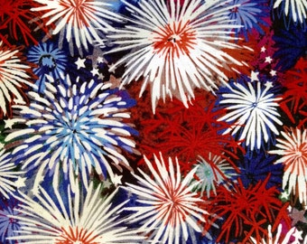 One Half Yard of Fabric Material - Red, White and Blue Fireworks