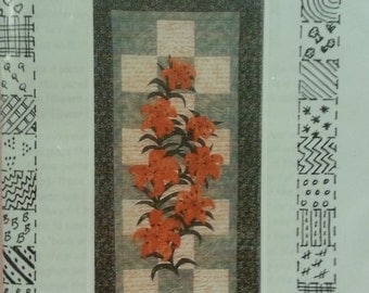 "Jan's Creative Designs - Lilies in my Garden - Wall Hanging - Finished Size 22"" x 45"" - Designed by Jan Rolin"