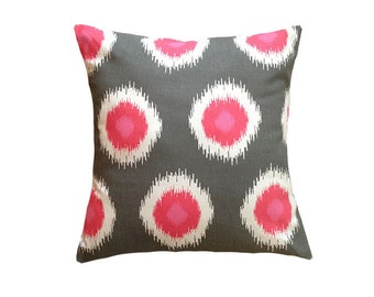 """Pink and Gray Pillow Cover. 20"""" x 20""""."""