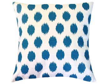 "Turquoise Pillow Cover 18"" x 18"". JoJo Print. Decorative Pillow Cover."