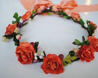 Coral Rose Flower Crown