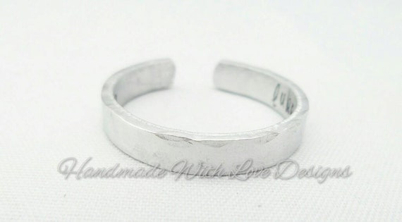4mm wide personalised Hand Stamped Adjustable Cuff Ring