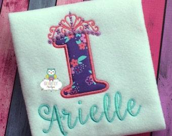 Princess Theme Girl Birthday Number Shirt or Bodysuit