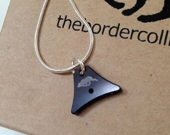 Whistle charm necklace - A1 Black with collie