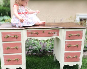 Pink and White Painted Vanity