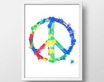 Rainbow Peace Sign Art Print - Peace Sign Decor - Peace Wall Art - 8 x 10 in. - Instant Download - Printable Art - Rainbow Peace Art Print