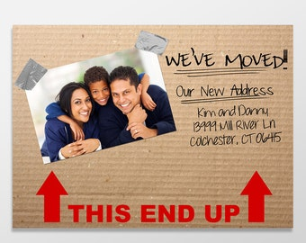 Custom Digital Moving Announcement, We've Moved, Move Announcement, 5x7 PRINTABLE or PRINTED - This End Up New Address Cards