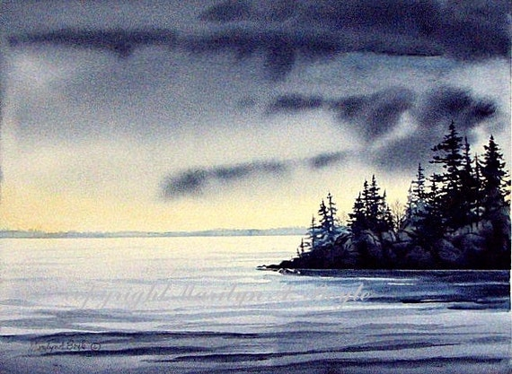 Original Watercolor Painting Art Scene Lake Peninsula