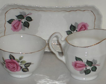 Adderley Pink Roses Cream Sugar and Under Tray Bone China Made in England  Free Standard Shipping in the U.S.
