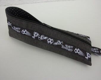 "Zipper Pencil Pouch pencil case ""Football"" in grey, black, white"