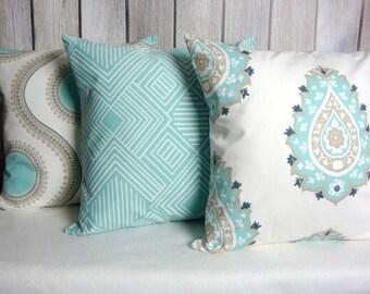 20x20 Pillow Covers. Blue Pillow Covers. Aqua Pillows. Aqua Grey Pillows