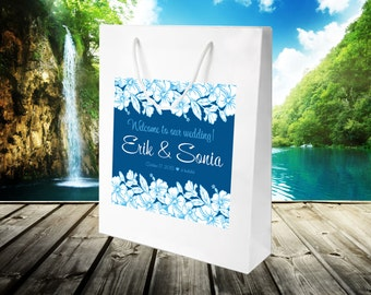 20 Wedding Welcome Bags, destination wedding hibiscus bags, hospitality hotel guest bag, out of towner goody bag, wedding favors