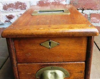 Antique Wood Cabinet with Coin Drawer
