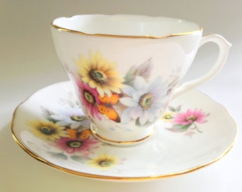 Butterfly Among Daisies Tea Cup and Saucer, Duchess Tea Cups, Tea Set, Antique Teacups and Saucers, Butterfly Daisy Cups, China Tea Cups