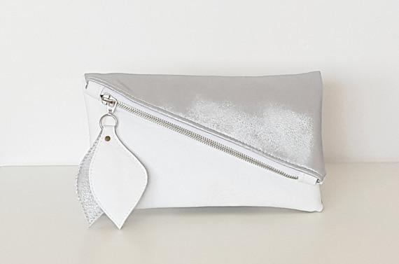 gomtriques dembrayage blanc argent brillant sac pochette en cuir pochette asymtrique - Pochette Argente Mariage