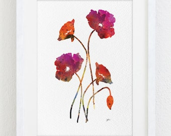 Red Poppy Flowers Watercolor Painting - 5x7 Archival Art Print - Silhouette Art Home Decor - Wall Decor, Gifts