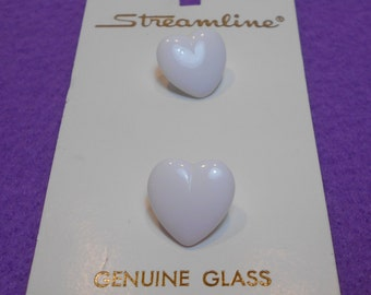 New Old Stock Streamline Heart Shaped Glass Buttons