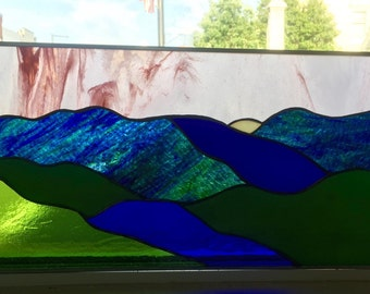Stained Glass Mountain Panel Suncatcher