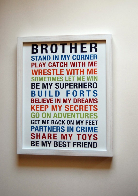 Brothers wall art printable boys room decor print big brother for Boys wall art