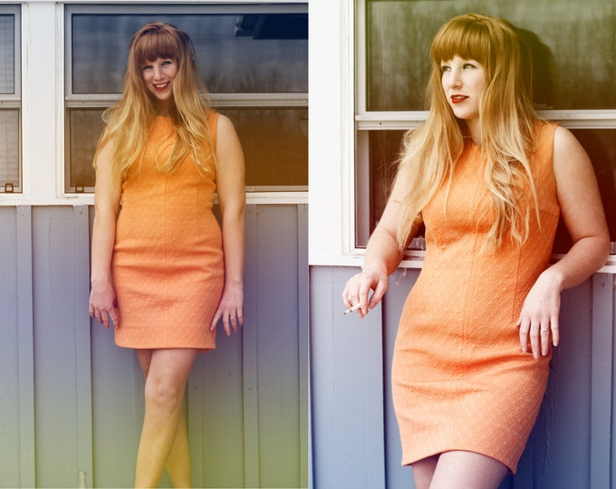 """1960's/70's Vintage """"Ladies Pride"""" Dress / Soft Creamsicle Orange Color and Low Cut Fashion Look / Mad Men Style"""