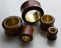 Sono Wood & Brass Metal Flesh Plugs / Tunnels  ** Sizes 6mm, 8mm, 10mm,11mm, 12mm, 14mm, 19mm, 22mm  **