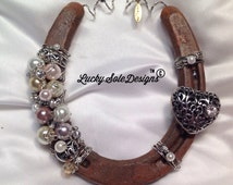 Christmas Elegant Ode to Love Horseshoe -Gift-Silver Vintage Style Scrolled Heart And Pearl Horseshoe-Country Chic Wedding Gift- Shabby Chic