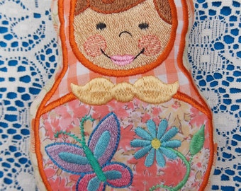 Doll~Plushie~Stuffed Rag Doll~Toy Baby Shower Gift~Child~Kids~Russian Style Mamushka~Babushka Machine Embroidered on Reclaimed Fabrics