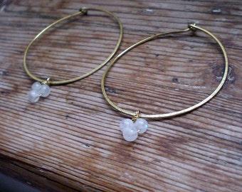Hoop earrings, moonstone jewelry, moonstone earrings, brass earrings, brass jewelry