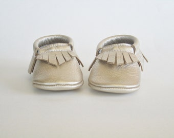 Platinum Leather Baby Moccasins