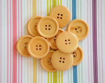 Wooden buttons, 35mm, round wooden buttons, wood buttons, pack of 10