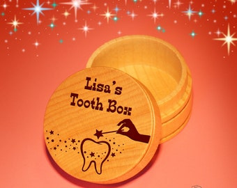 Design's Personalized Tooth Fairy Box with Choice of Engraved Tooth Design Options &Font Selection with Gift Pouch Included
