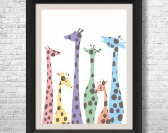 Giraffe Art Print, Modern Giraffe Silhouettes, Nursery decor, Kids wall art, baby room decor, childrens art print