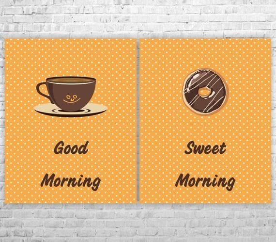 hnliche artikel wie typografische k che kunstdrucke wanddekoration k che kaffee und donut. Black Bedroom Furniture Sets. Home Design Ideas