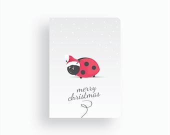 Christmas Card - Magical Christmas by Celebratink • Ladybug Santa • Greeting Cards • Xmas Cards • Blue, White & Green