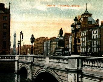 O'Connell Bridge, Dublin, Ireland 1915 REPRO Vintage Postcard R885443