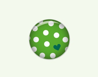 Dotted button in green with white dots