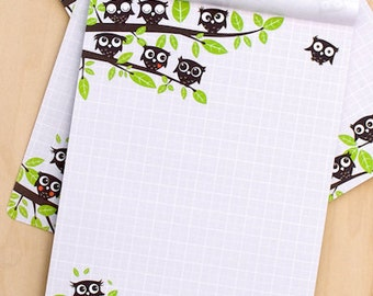 Checkered letter block A5 with owls