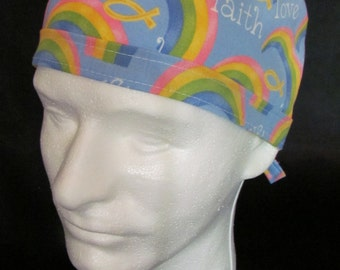 IXÈYÓ Faith Love Trust and Hope Rainbow Tie Back Surgical Scrub Hat