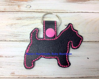 Scottish Terrier - Scottie Dog -  In The Hoop - Snap/Rivet Key Fob - DIGITAL Embroidery Design